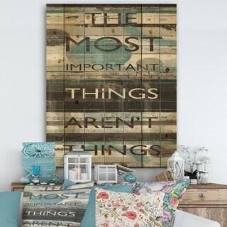Designart 'Blue Zephyr Quote I ' Cottage Inspirational Print on Natural Pine Wood - Grey/Blue