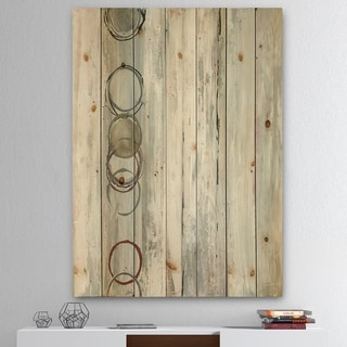 Designart 'Whitewashed Syrah' Modern Geometric Print on Natural Pine Wood - Grey