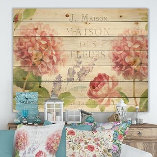Designart 'Maison Des Fleurs II' Farmhouse Print on Natural Pine Wood - Pink