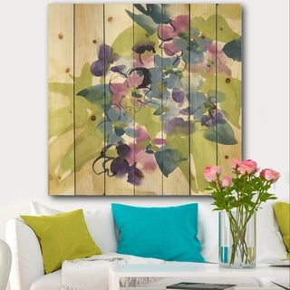 Designart 'Spring Bouquet I' Traditional Print on Natural Pine Wood - Multi-color