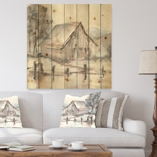 Designart 'Farmhouse Barn Grey VII' Modern Farmhouse Print on Natural Pine Wood