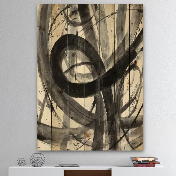 Designart 'Black and White Minimalistic Painting' Modern & Transitional Print on Natural Pine Wood - Grey