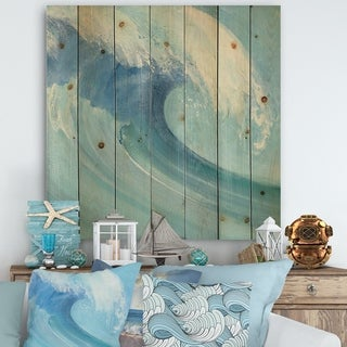 Designart 'Ocean Wave with White Foam' Nautical & Coastal Print on Natural Pine Wood - Blue