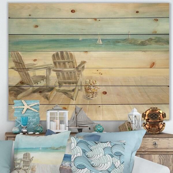 Designart 'Seaside Morning no Window' Coastal Print on Natural Pine Wood - Blue
