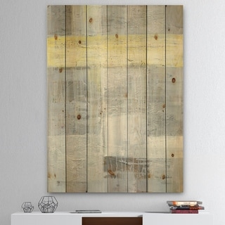Designart 'Patchwork Abstract I' Modern & Contemporary Print on Natural Pine Wood - Grey