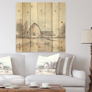 Designart 'Farmhouse Barn Grey VIII' Modern Farmhouse Print on Natural Pine Wood