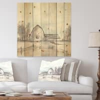 Designart 'Farmhouse Barn Grey VIII' Modern Farmhouse Print on Natural Pine Wood