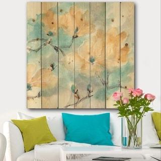 Designart 'Teal Buds I' Cabin & Lodge Print on Natural Pine Wood - Blue/Orange