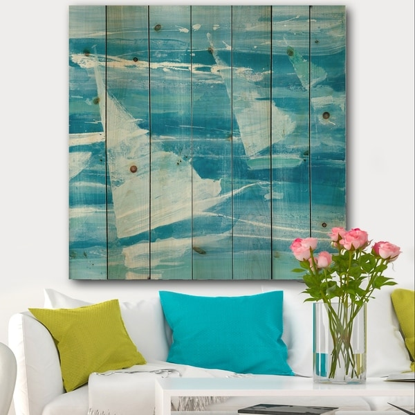 Designart 'From the Shore I' Nautical & Beach Print on Natural Pine Wood - Blue