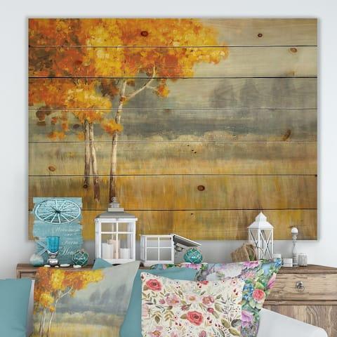 Designart 'Autumn Landscape' Farmhouse Print on Natural Pine Wood - Grey