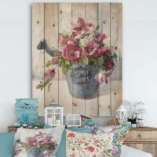 Designart 'Maison Des Fleurs I' Cabin & Lodge Print on Natural Pine Wood - Grey/Pink