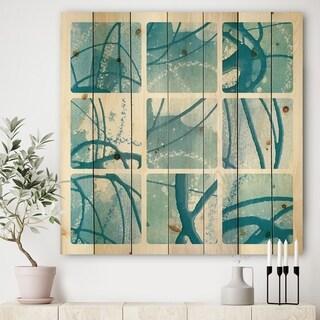 Designart 'Underwater collage' Modern & Transitional Print on Natural Pine Wood - Blue