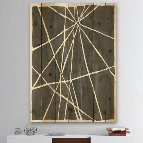 Designart 'Minimalist Graphics II' Transitional Print on Natural Pine Wood - Black