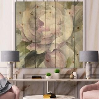 Designart 'Twilight Peony' Shabby Chic Print on Natural Pine Wood - Grey