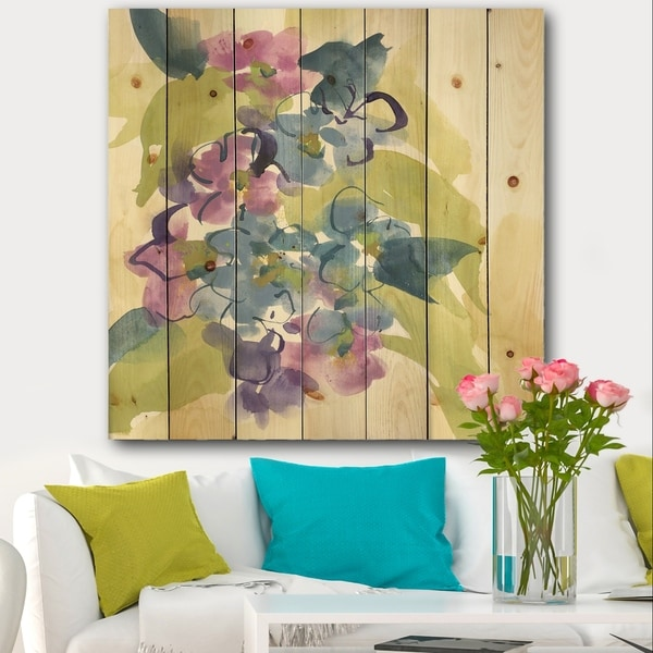Designart 'Spring Bouquet II' Traditional Print on Natural Pine Wood - Multi-color