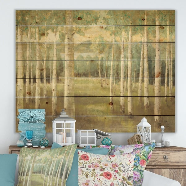 Designart 'Aspens Neutral Forest' Traditional Print on Natural Pine Wood - Green