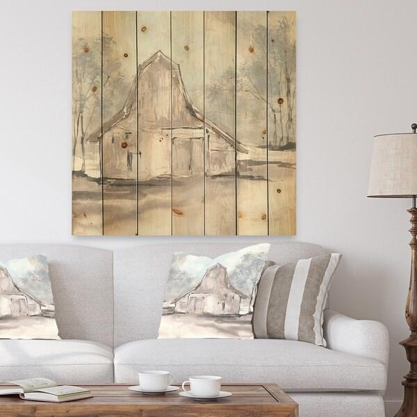 Designart 'Farmhouse Barn Grey VI' Modern Farmhouse Print on Natural Pine Wood