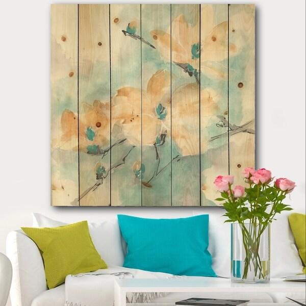 Designart 'Teal Buds II' Cabin & Lodge Print on Natural Pine Wood - Blue/Orange