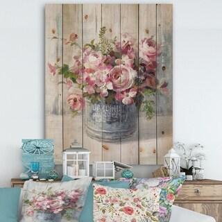 Designart 'Maison Des Fleurs III' Cabin & Lodge Print on Natural Pine Wood - Grey/Pink