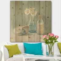 Designart 'Pastel Bath II' Nautical & Beach Print on Natural Pine Wood - Blue