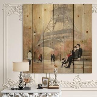 Designart 'Love in Paris VI' Romantic French Country Print on Natural Pine Wood - Multi-color