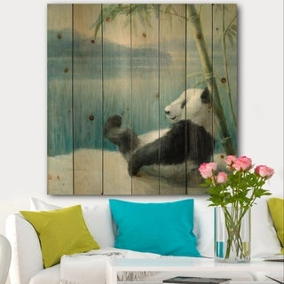 Designart 'Panda after a long day' Traditional Print on Natural Pine Wood - Blue