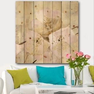 Designart 'Elegance III Pink' Shabby Chic Print on Natural Pine Wood - Multi-color