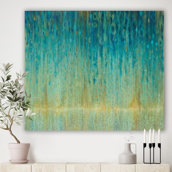 Designart 'Rain Abstract Panel' Modern & Contemporary Print on Natural Pine Wood - Blue