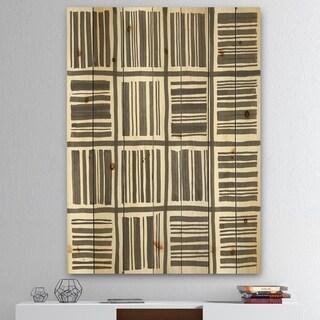 Designart 'Minimalist Graphics I' Transitional Print on Natural Pine Wood - Black