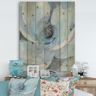Designart 'Watercolor Moonlight Magnolia I' Farmhouse Print on Natural Pine Wood - Blue