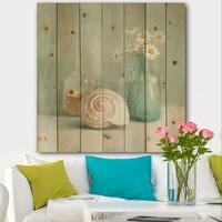 Designart 'Pastel Bath III' Nautical & Beach Print on Natural Pine Wood - Blue