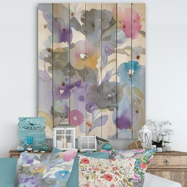 Designart 'Jewel Garden I' Modern Farmhouse Print on Natural Pine Wood - Purple