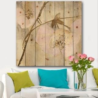 Designart 'Elegance II Pink' Shabby Chic Print on Natural Pine Wood - Multi-color
