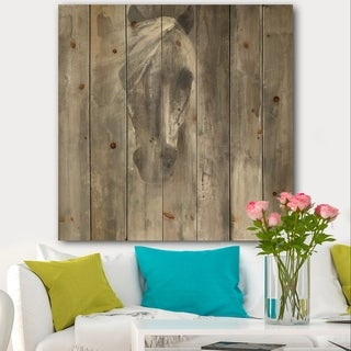 Designart 'Farmhouse Horse' Modern Farmhouse Print on Natural Pine Wood - Grey