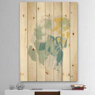 Designart 'Hopeful II' Modern Farmhouse Print on Natural Pine Wood - Blue