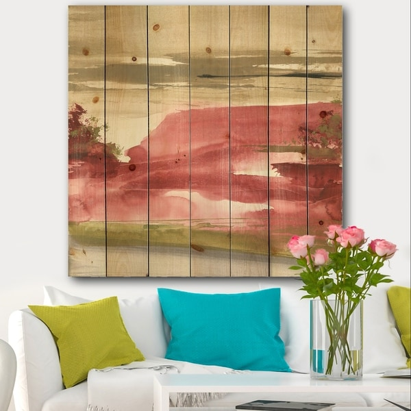 Designart 'Red Rock I' Traditional Print on Natural Pine Wood - Red