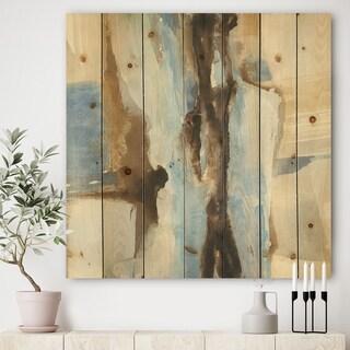 Designart 'River Run I' Modern & Contemporary Print on Natural Pine Wood - Blue