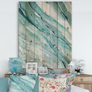 Designart 'Silver Springs I Blue Green' Nautical & Coastal Print on Natural Pine Wood