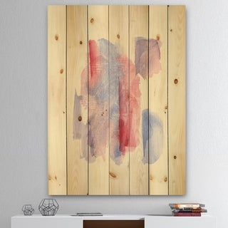 Designart 'geometric Pastel I' Mid-Century Modern Print on Natural Pine Wood - Red