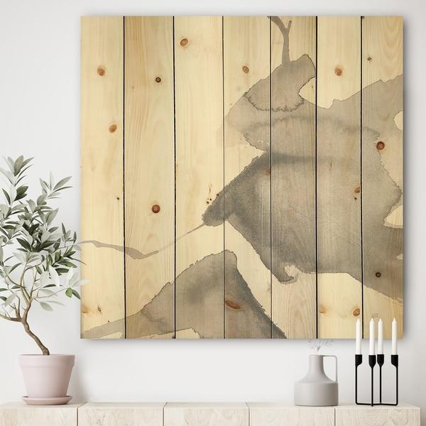 Designart 'minimal geometric Zen V' Transitional Print on Natural Pine Wood - Grey