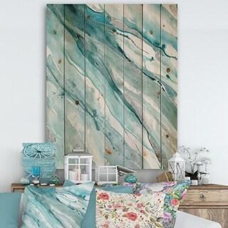 Designart 'Silver Springs II Blue Green' Nautical & Coastal Print on Natural Pine Wood
