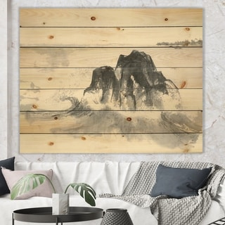 Designart 'Ocean Waves' Lake House Print on Natural Pine Wood - Black