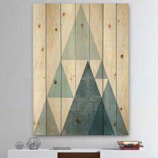 Designart 'minimal Triangles III Blue' Mid-Century Modern Print on Natural Pine Wood - Blue
