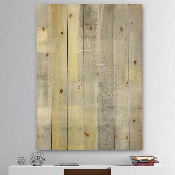 Designart 'Patchwork Abstract II' Modern & Contemporary Print on Natural Pine Wood - Grey