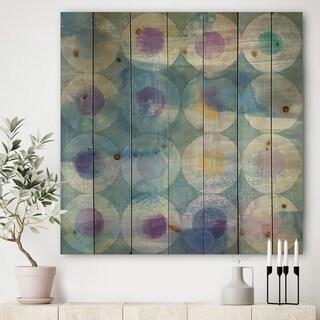 Designart 'Watercolor Geometrical Circles I' Mid-Century Modern Print on Natural Pine Wood - Blue