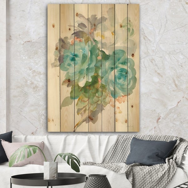 Designart 'Multicolor French Bouquet II' Farmhouse Print on Natural Pine Wood - Blue/Brown