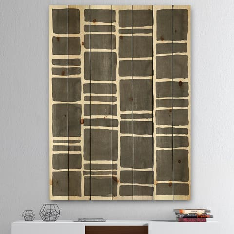 Designart 'Minimalist Graphics IV' Transitional Print on Natural Pine Wood - Black