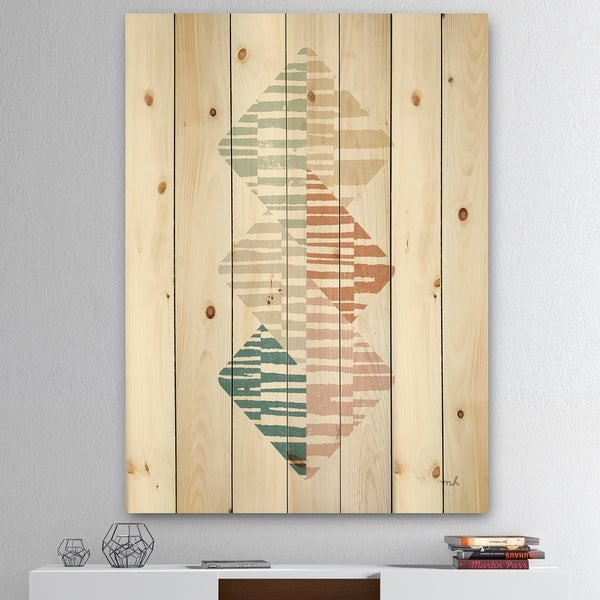 Designart 'Watercolor Geometric Triangle II' Transitional Print on Natural Pine Wood - Grey/Blue