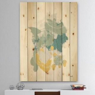 Designart 'Hopeful I' Modern Farmhouse Print on Natural Pine Wood - Blue