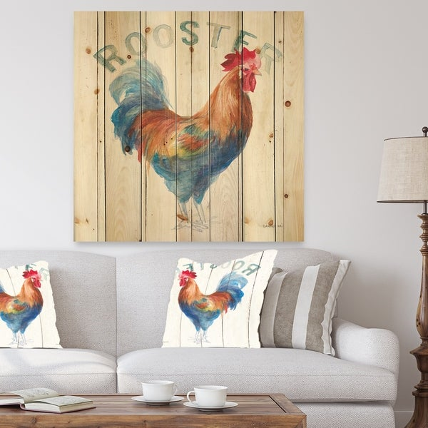 Designart 'Wood Farm Roaster I' Farmhouse Print on Natural Pine Wood - Multi-color